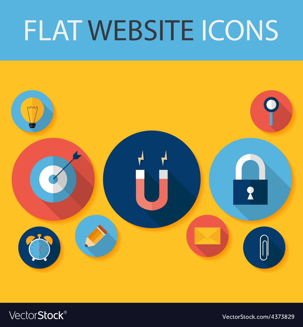 Set of five flat circle website icons vector | Price: 1 Credit (USD $1)