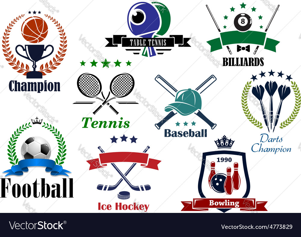 Sporting icons and emblems with heraldic elements vector | Price: 1 Credit (USD $1)