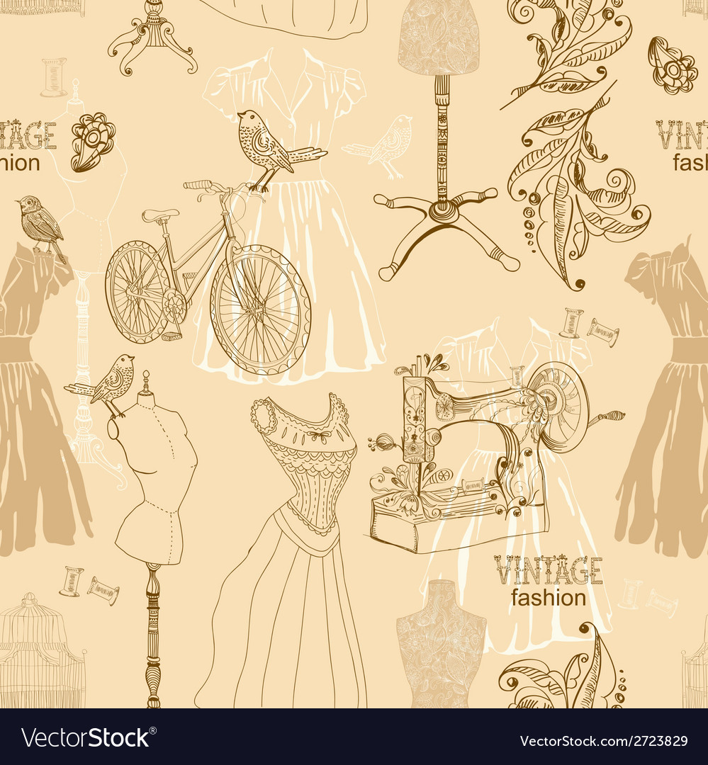 Vintage seamless pattern - fashion and sewing vector | Price: 1 Credit (USD $1)