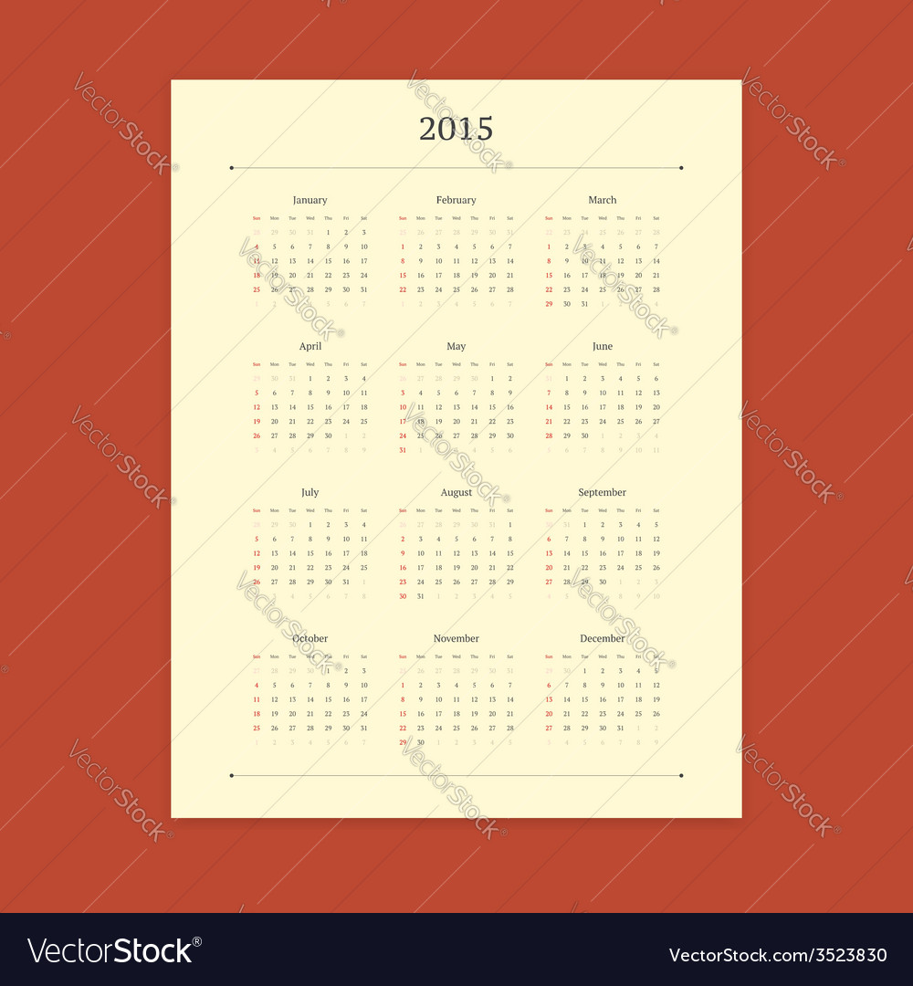 2015 calendar template vector | Price: 1 Credit (USD $1)