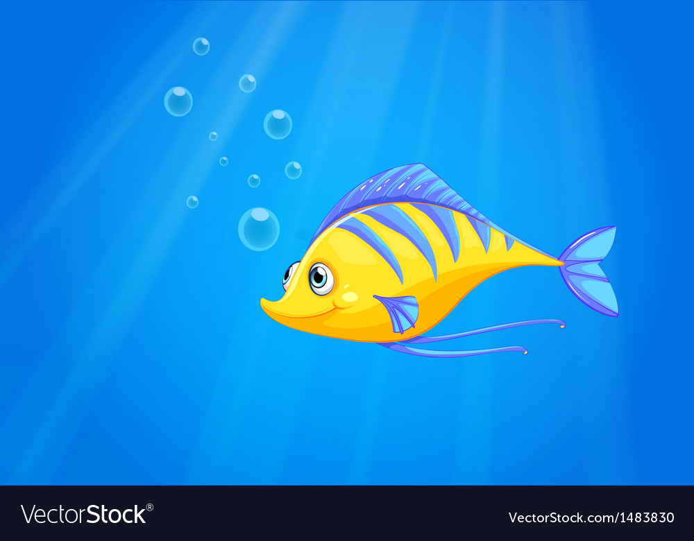 A hungry yellow fish under the sea vector | Price: 1 Credit (USD $1)
