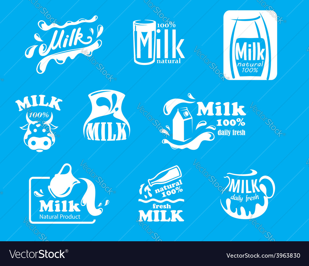 Blue and white milk symbols icons or logos vector | Price: 1 Credit (USD $1)