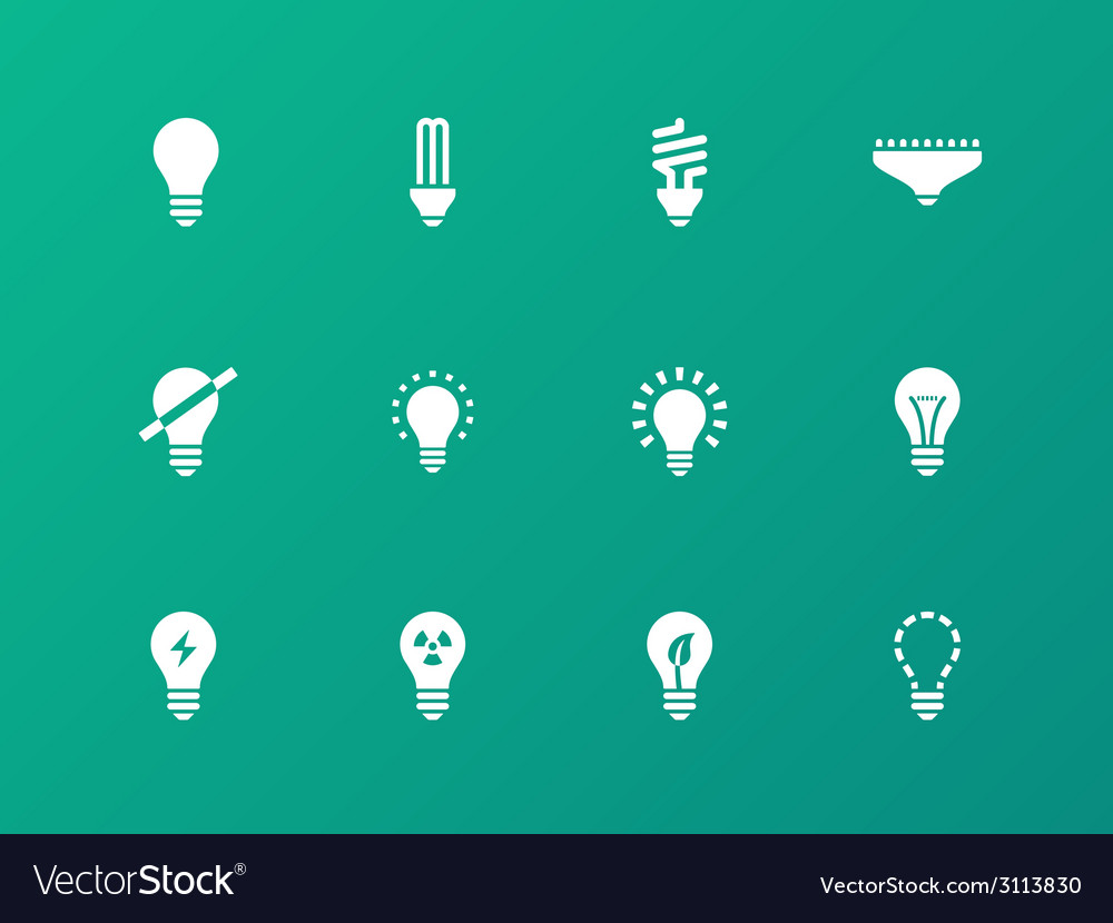 Light bulb and cfl lamp icons on green background vector | Price: 1 Credit (USD $1)