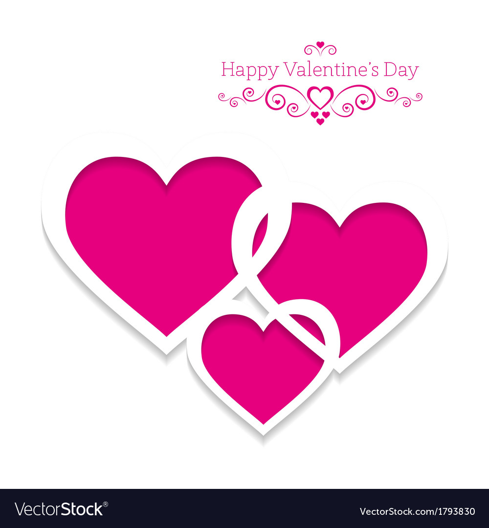 Three hearts on a pink background abstract vector | Price: 1 Credit (USD $1)