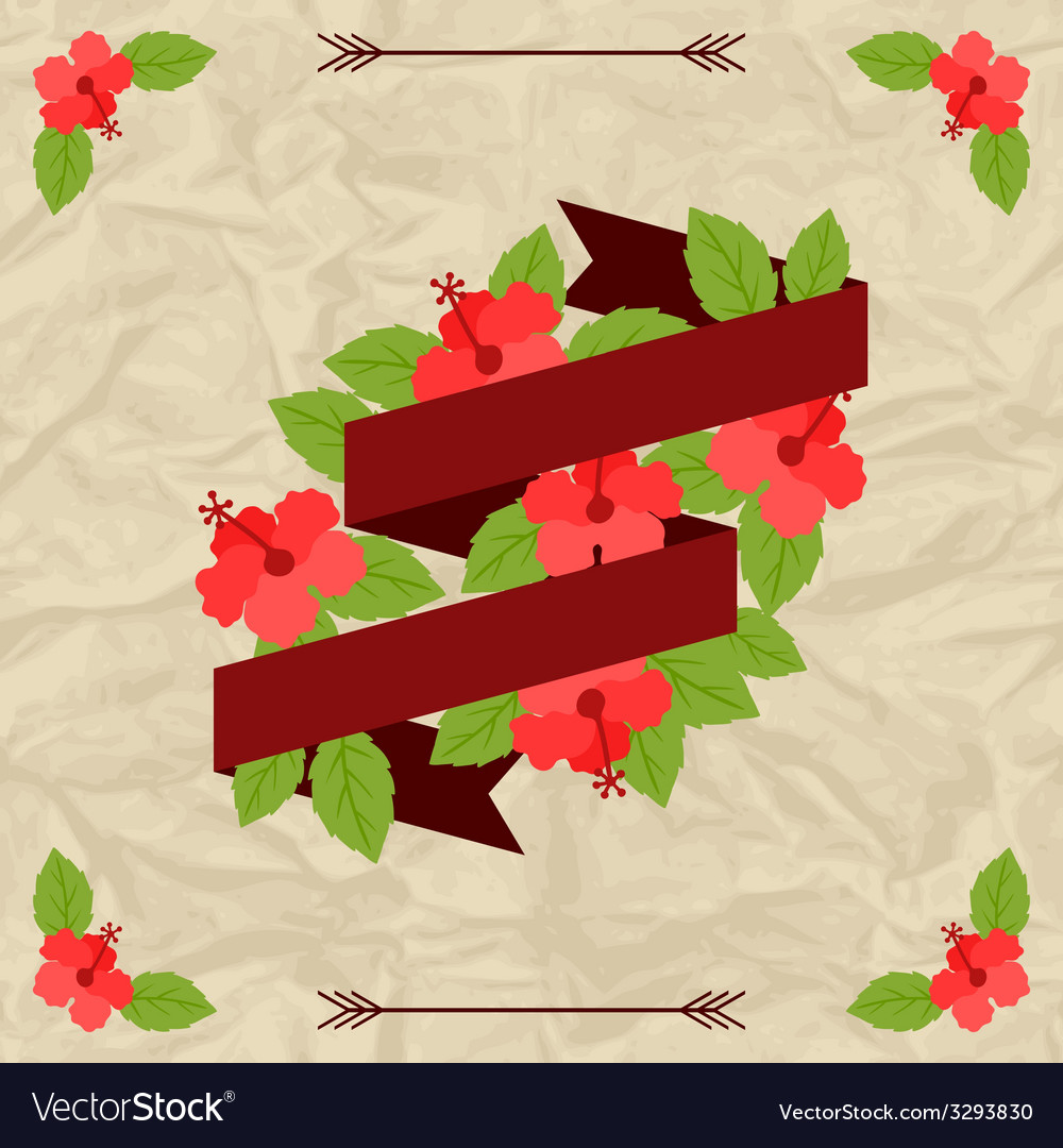 Tropical background with stylized hibiscus flowers vector | Price: 1 Credit (USD $1)