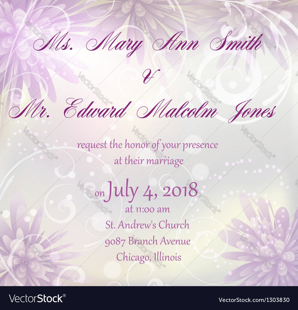Wedding invitation with purple abstract flowers vector | Price: 1 Credit (USD $1)