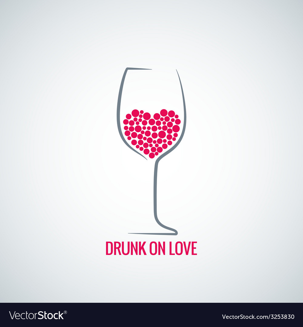 Wine glass love heart concept design background vector | Price: 1 Credit (USD $1)