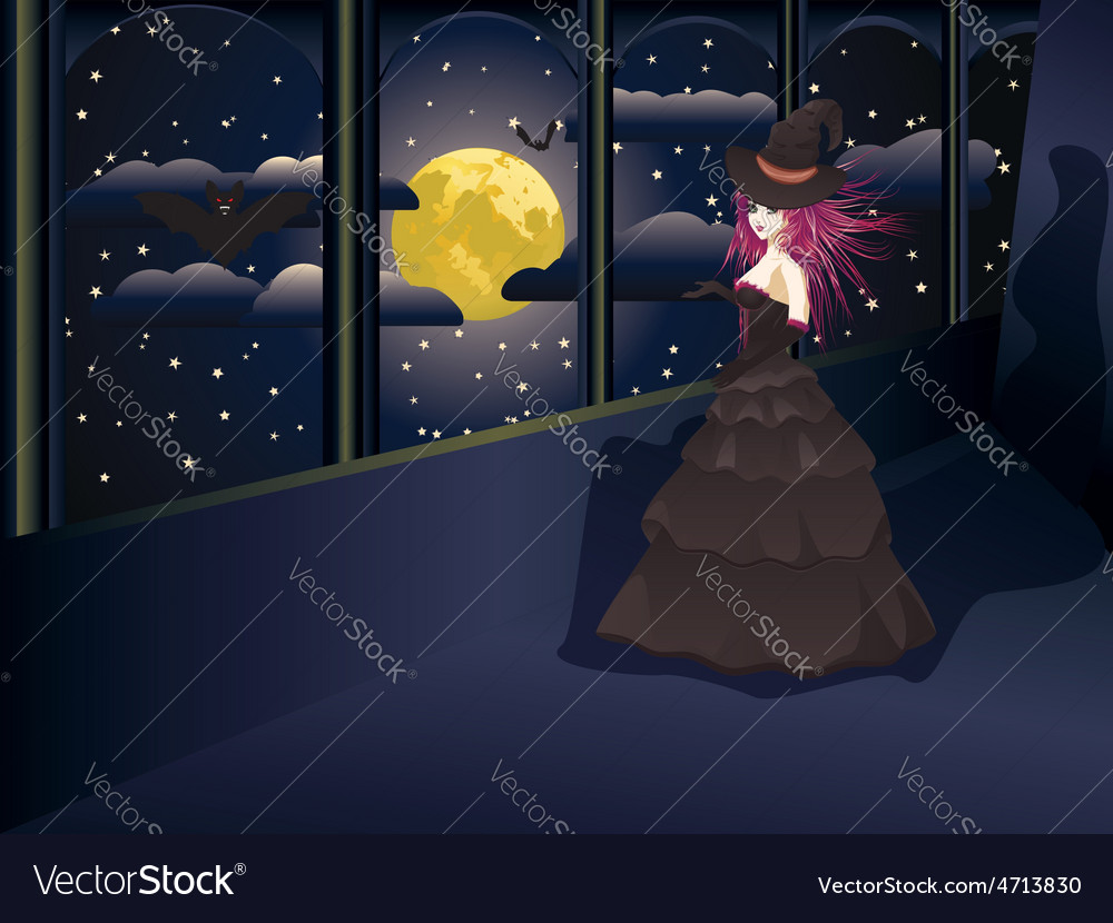 Witch on balcony vector | Price: 3 Credit (USD $3)