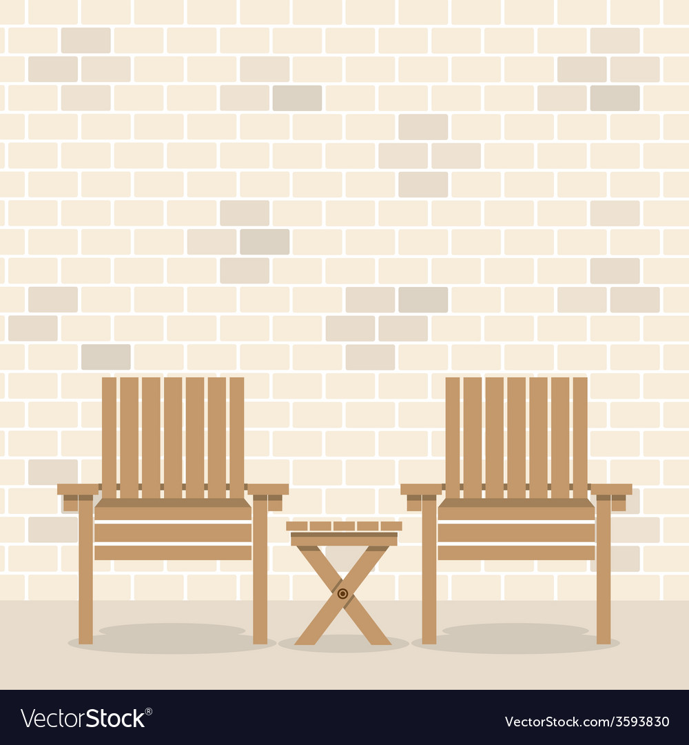 Wooden garden chairs with table in front of bricks vector | Price: 1 Credit (USD $1)