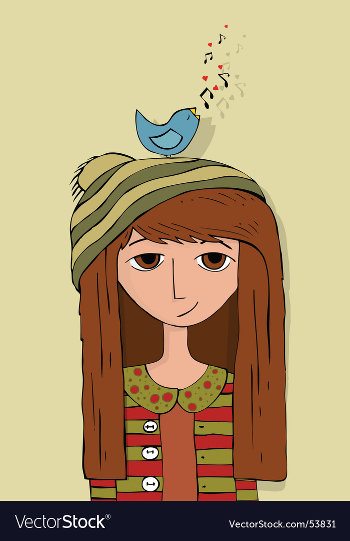 Bird and girl vector | Price: 1 Credit (USD $1)