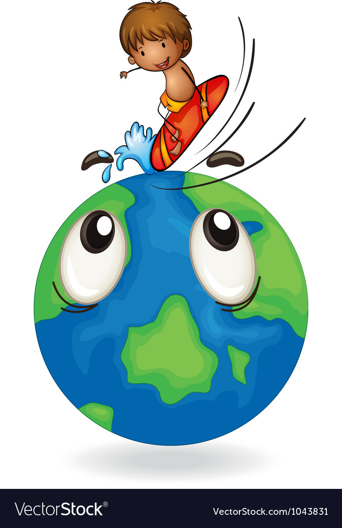 Boy surfing on earth globe vector | Price: 3 Credit (USD $3)