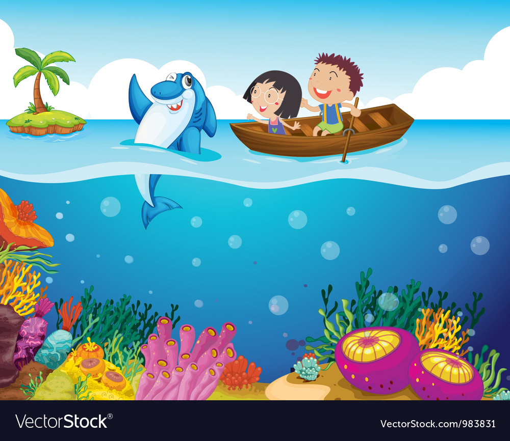 Cartoon tropical scene vector | Price: 3 Credit (USD $3)
