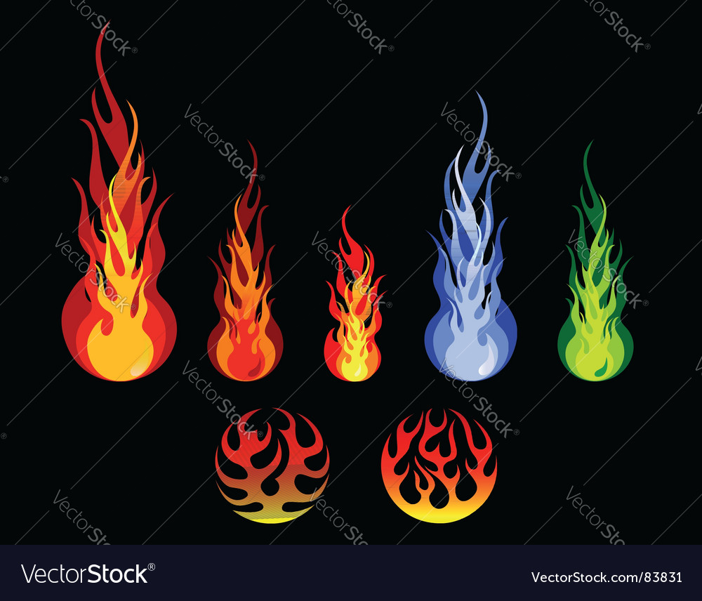 Fire and flame silhouettes vector | Price: 1 Credit (USD $1)