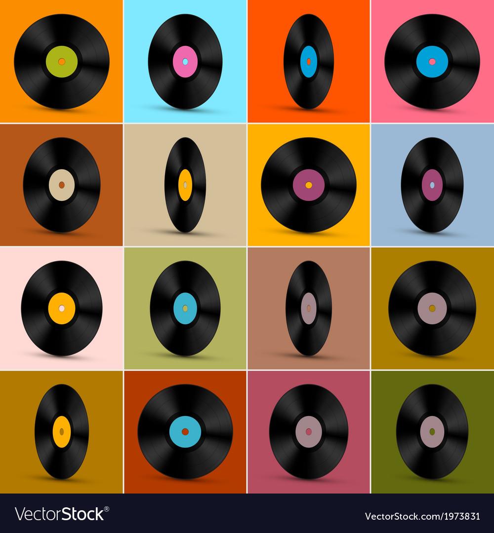 Retro vintage vinyl record disc background vector | Price: 1 Credit (USD $1)