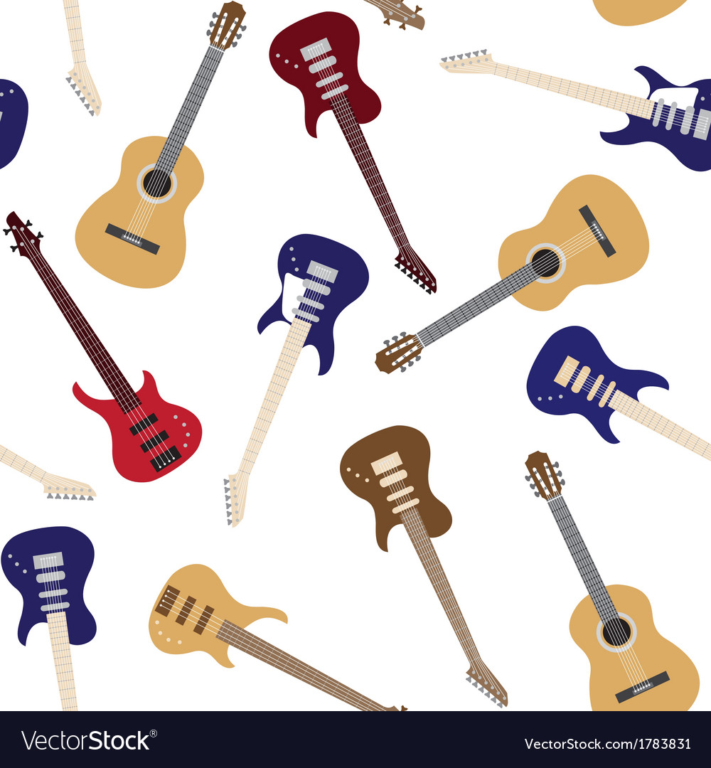 Seamless pattern with guitars vector | Price: 1 Credit (USD $1)