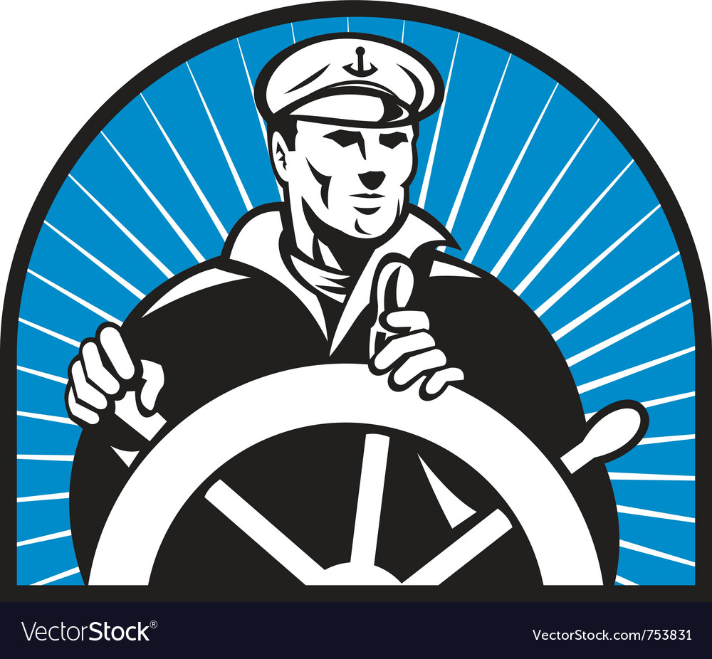 Ship captain helmsman sailor helm vector | Price: 1 Credit (USD $1)