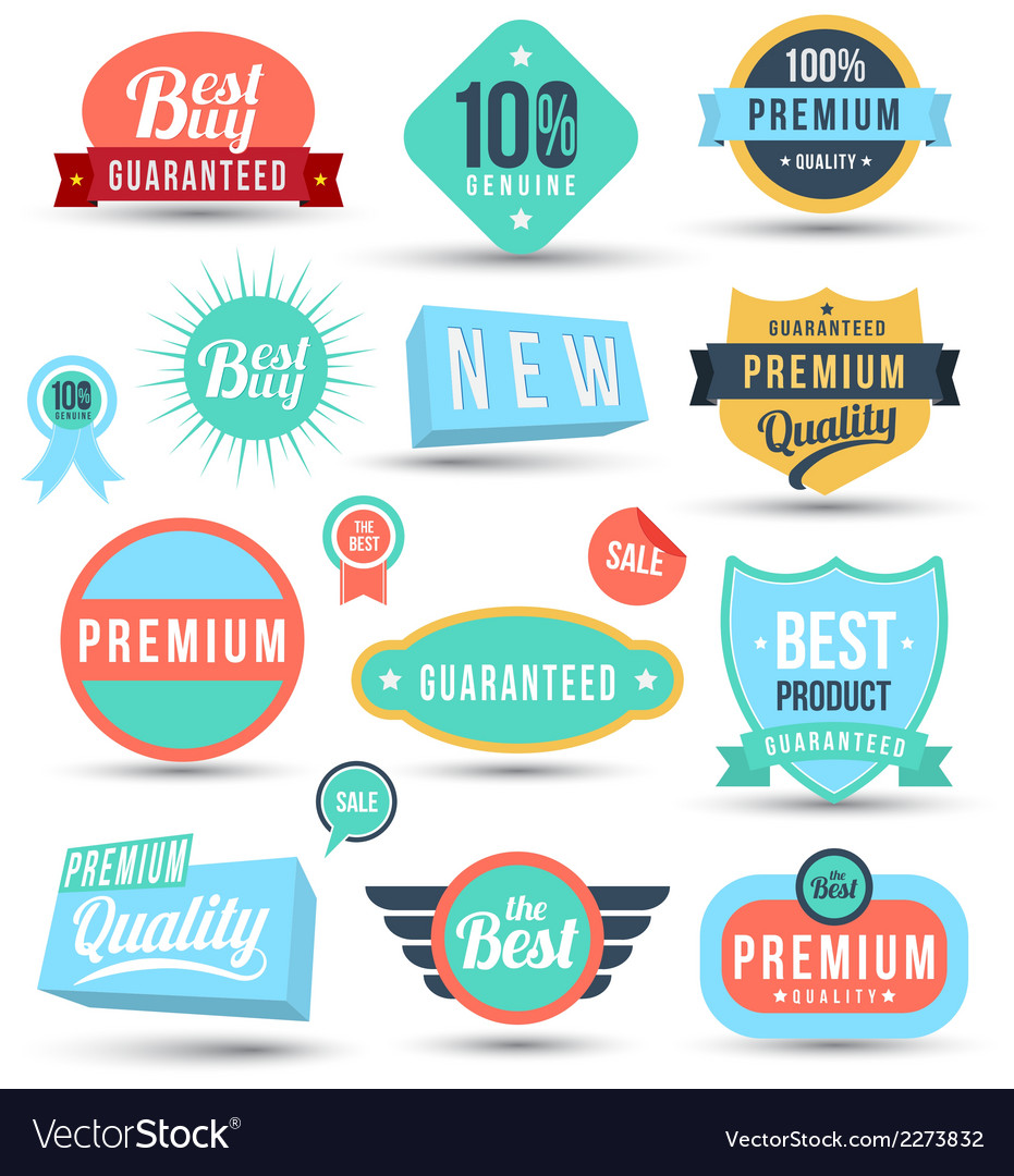 Badges tag label sticker colour set vector | Price: 1 Credit (USD $1)