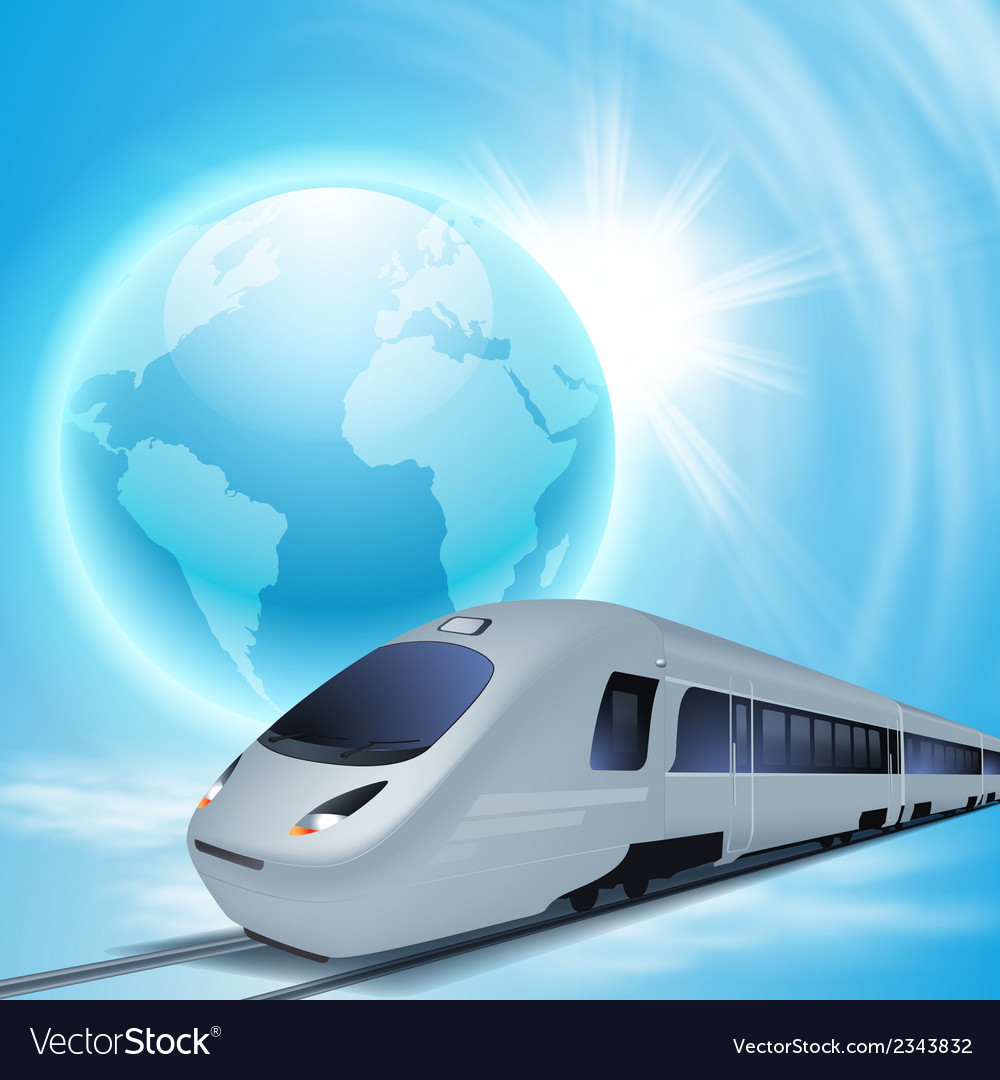 Concept background with high-speed train vector | Price: 1 Credit (USD $1)