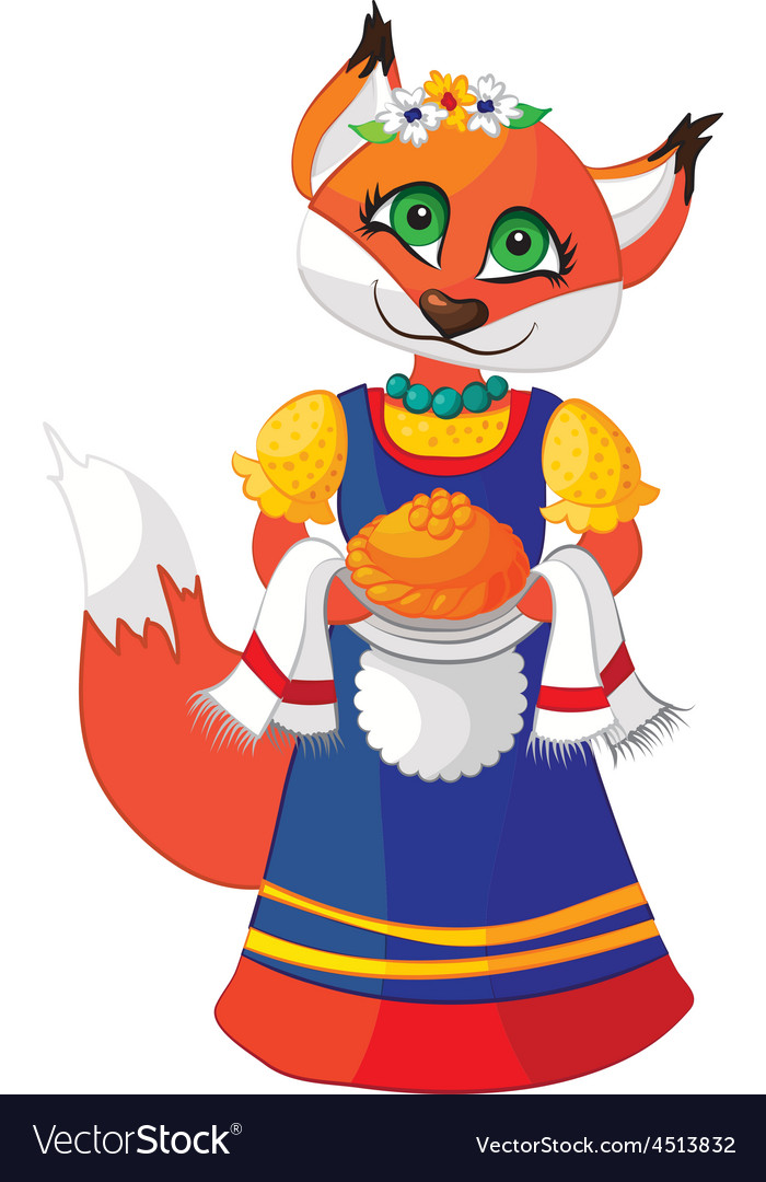 Cute fox in a dress with pastries hand vector | Price: 1 Credit (USD $1)