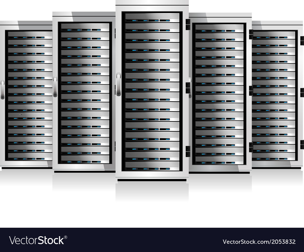 Five servers white in cabinets vector | Price: 1 Credit (USD $1)
