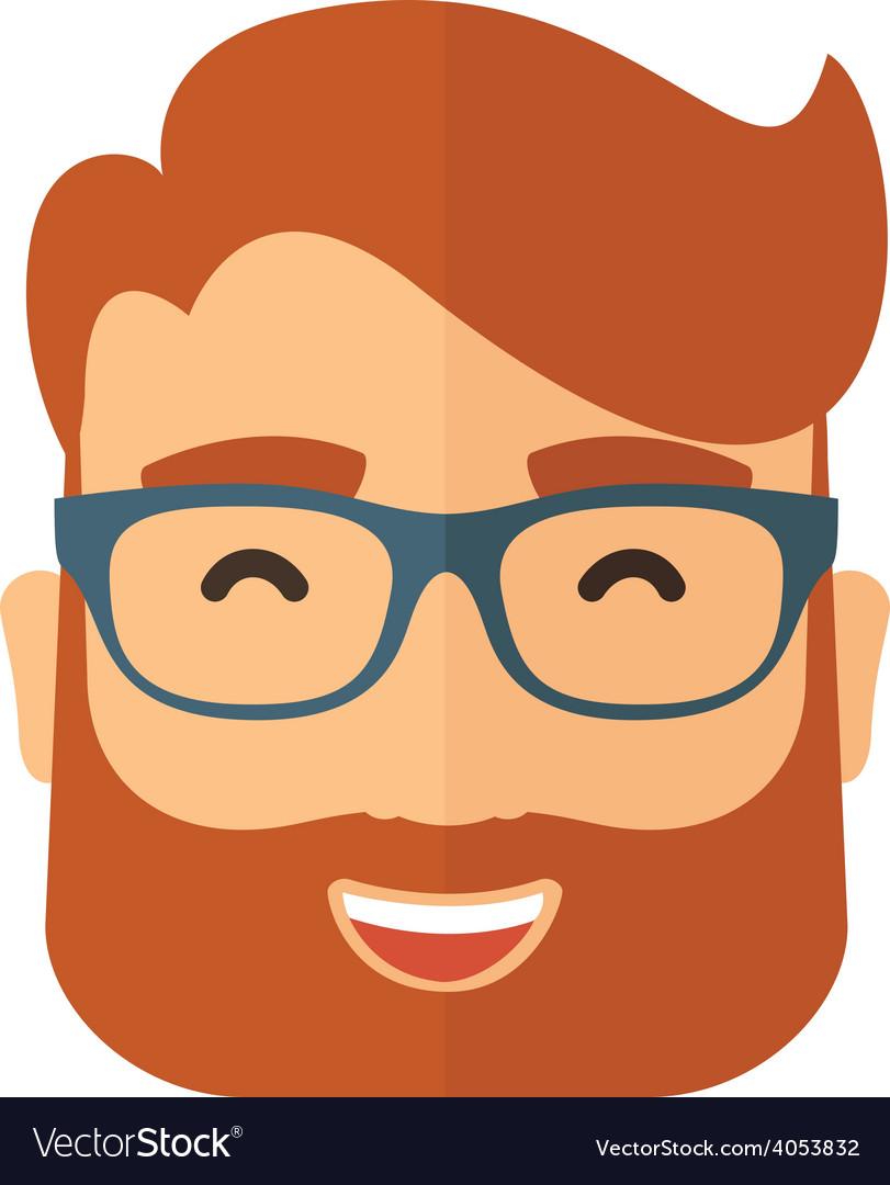 The hipster with a beard avatar vector