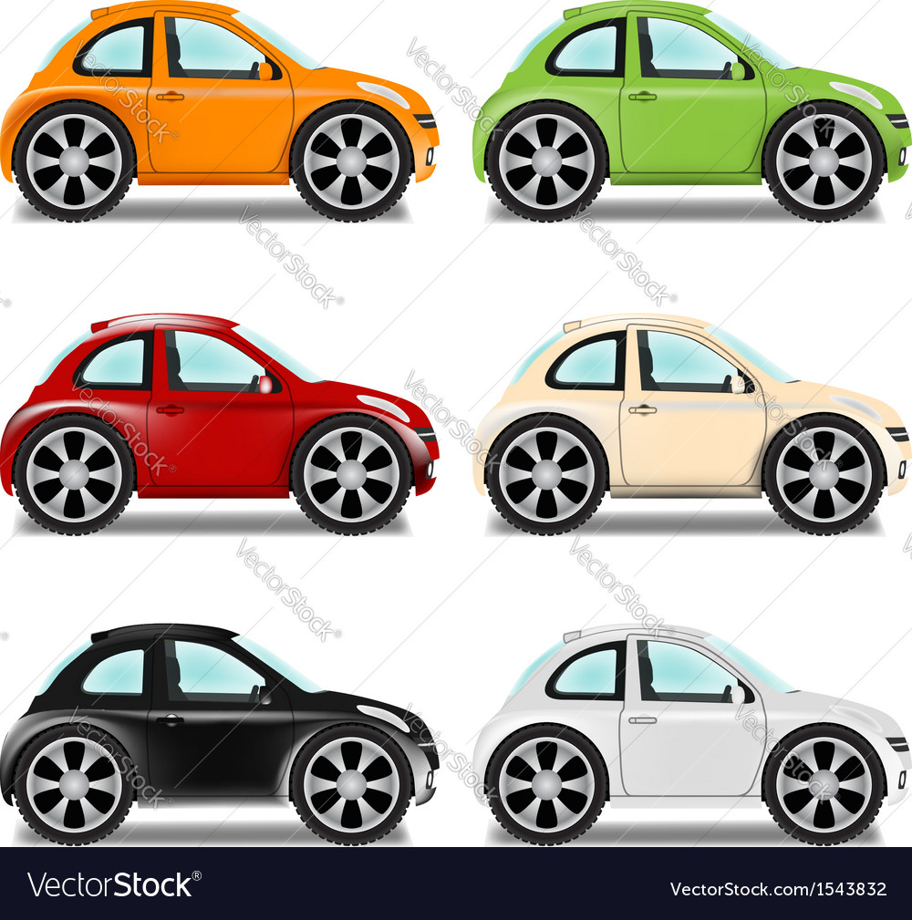 Mini car with big wheels six colors vector | Price: 1 Credit (USD $1)