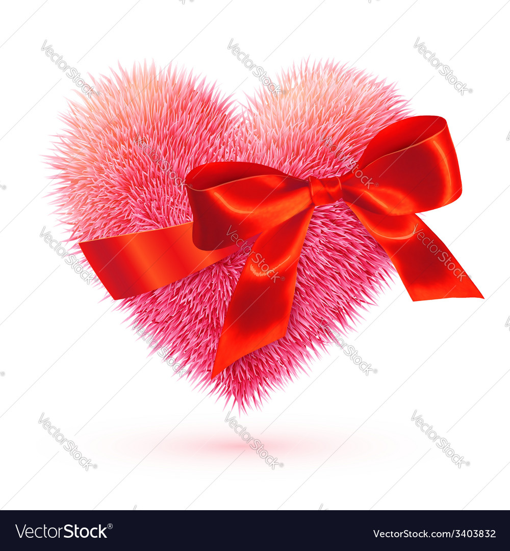 Pink fluffy heart with red bow vector | Price: 1 Credit (USD $1)