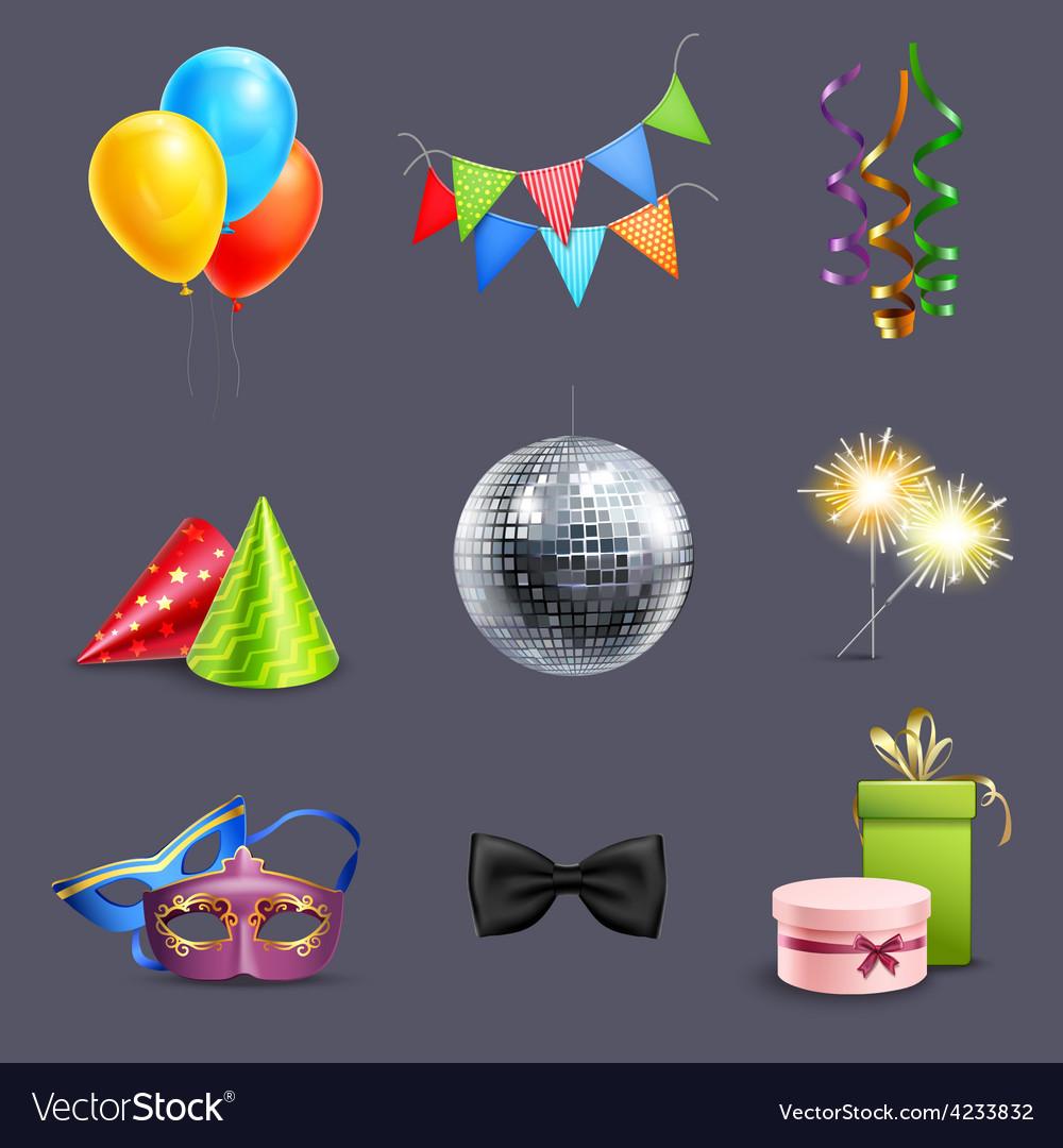Realistic celebration icons vector | Price: 3 Credit (USD $3)