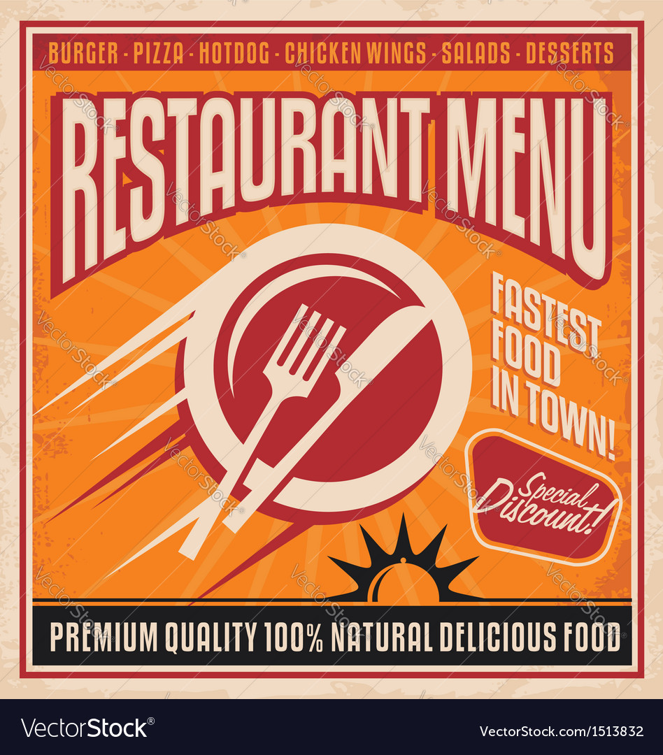 Retro poster template for fast food restaurant vector | Price: 3 Credit (USD $3)