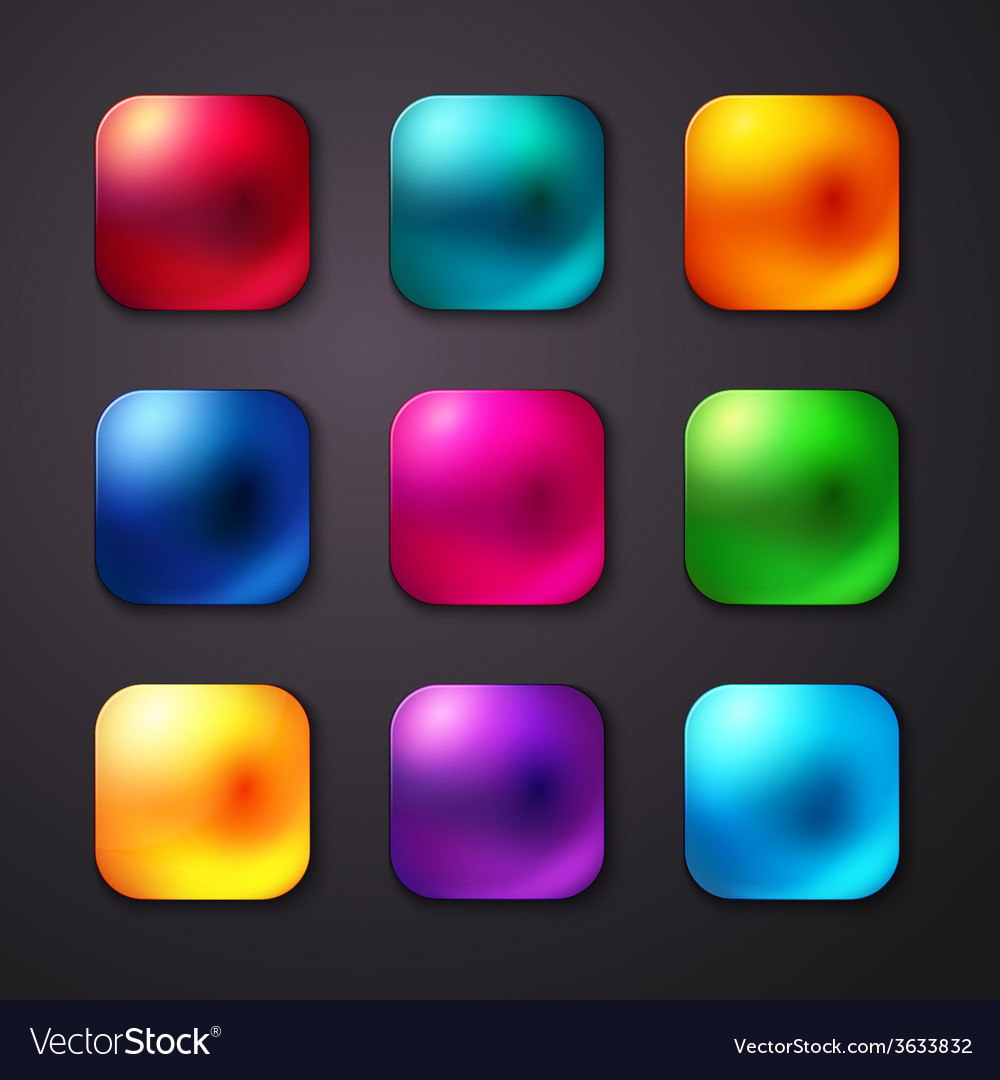 Set of realistic and colorful mobile app buttons vector   Price: 1 Credit (USD $1)