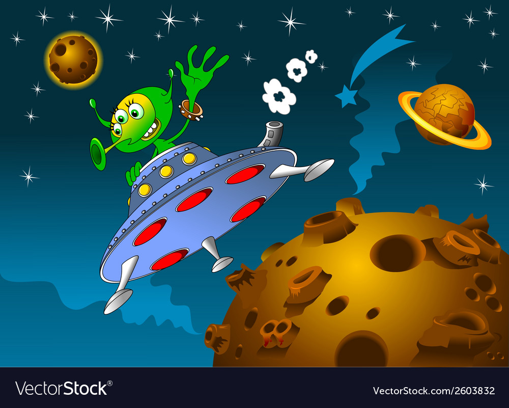 Space scene with rocket and alien vector | Price: 1 Credit (USD $1)