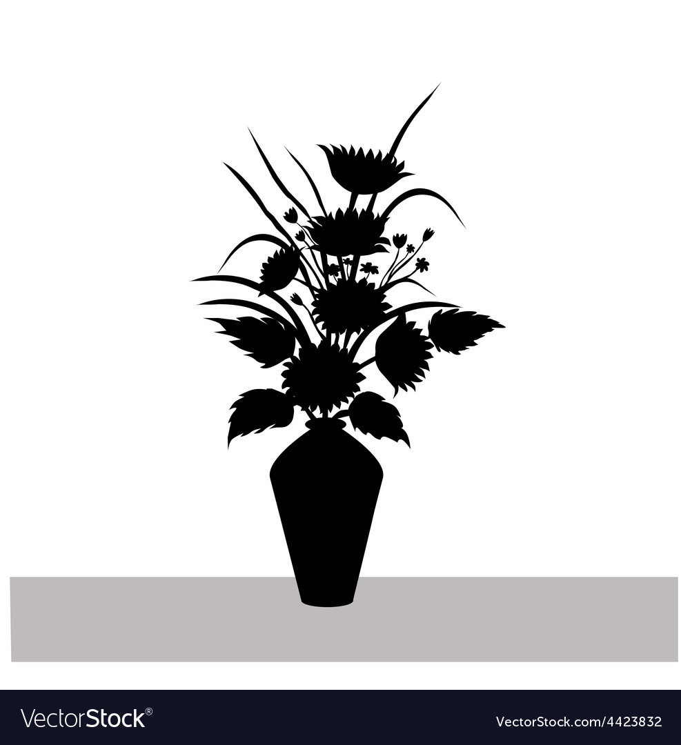Sunflowers-and-vase silhouette vector | Price: 1 Credit (USD $1)