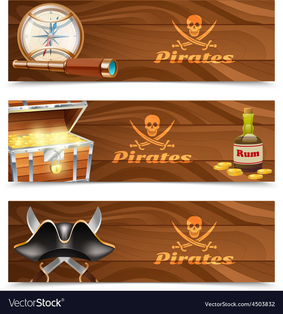 Three horizontal pirate banners vector | Price: 3 Credit (USD $3)
