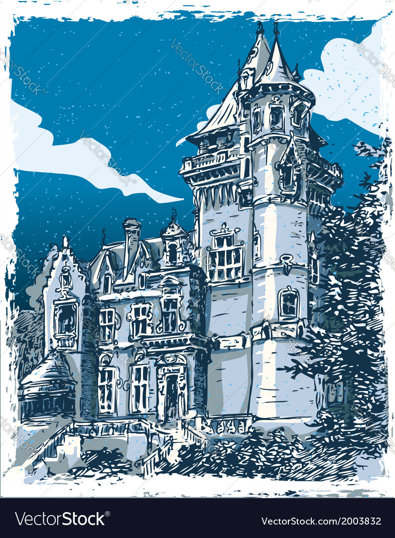 Vintage hand drawn view of old castle in belgium vector | Price: 1 Credit (USD $1)