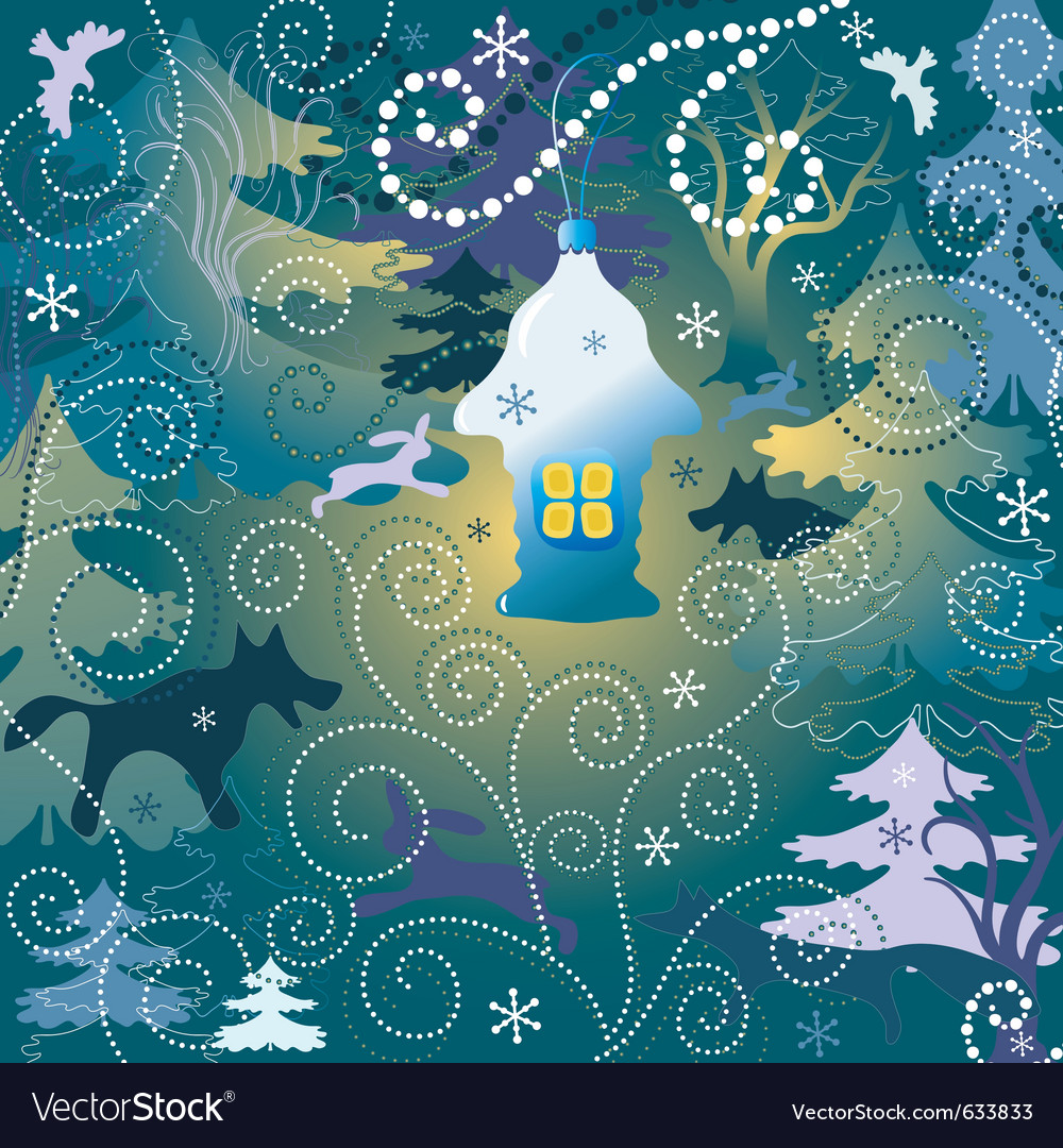 Christmas background with a toy house forest and w vector | Price: 1 Credit (USD $1)
