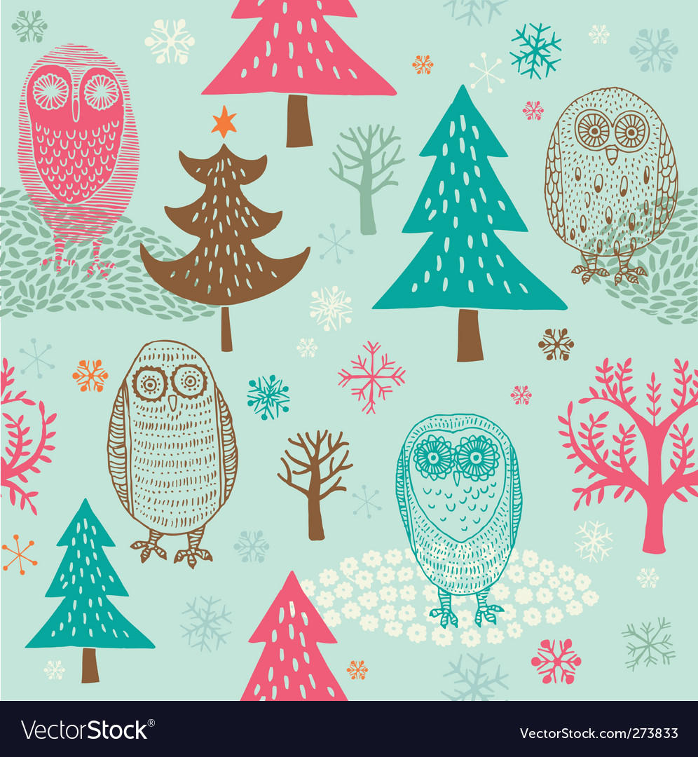Christmas forest with owl vector | Price: 3 Credit (USD $3)