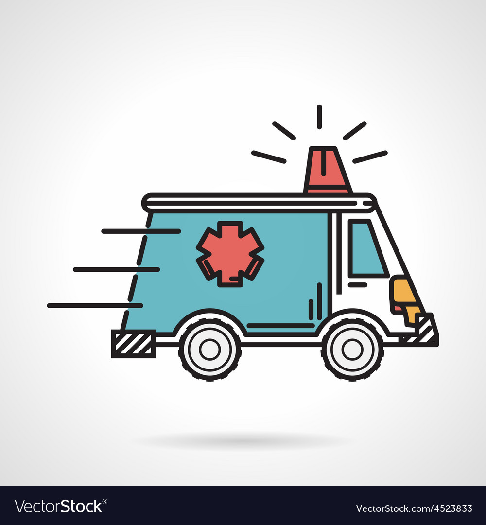 Flat color icon for ambulance car vector | Price: 1 Credit (USD $1)