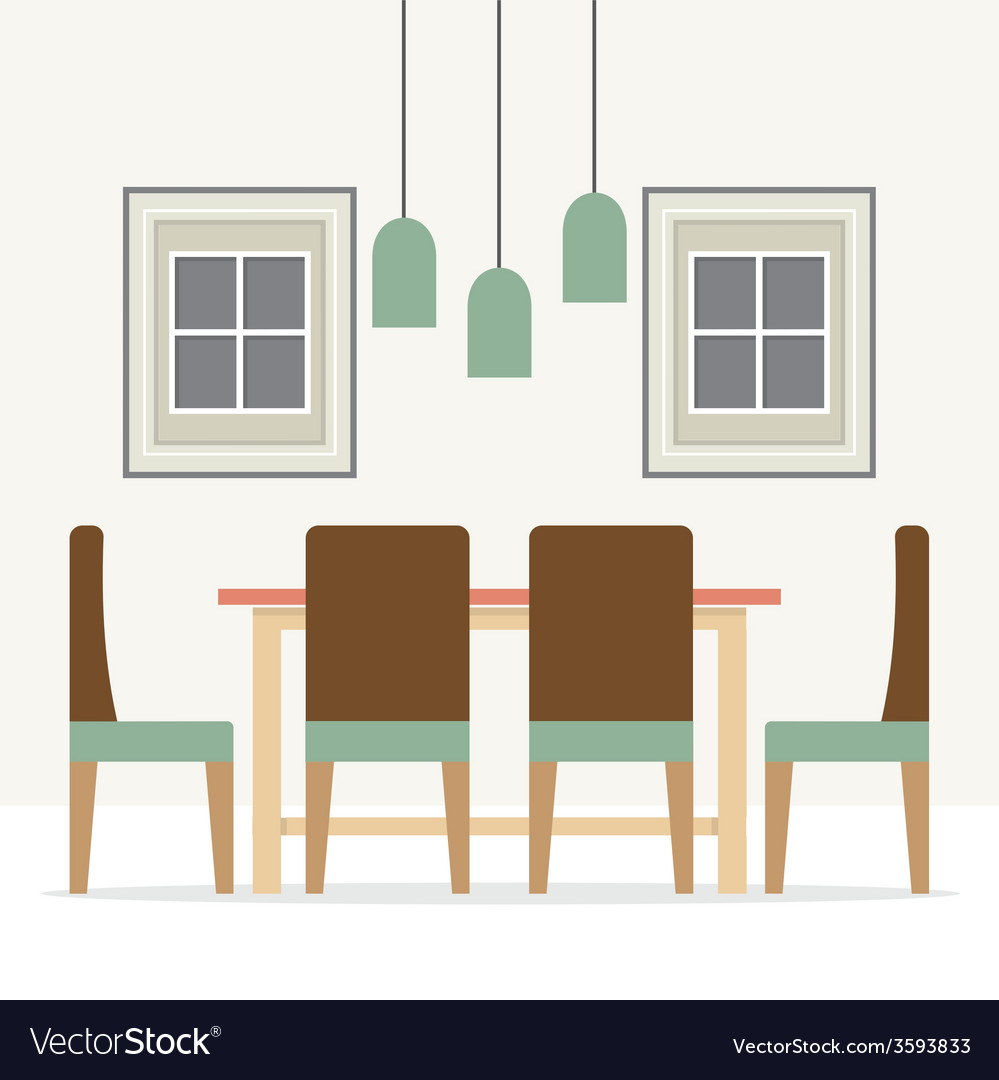 Flat design interior dining room vector | Price: 1 Credit (USD $1)
