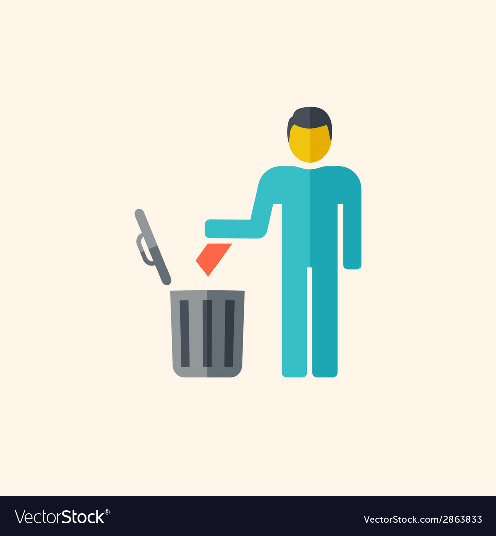 Garbage disposal flat icon vector | Price: 1 Credit (USD $1)