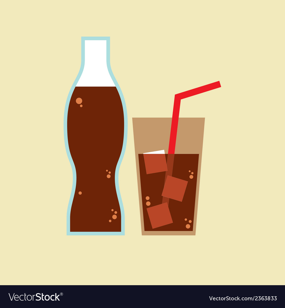 Glass and bottle of cola vector | Price: 1 Credit (USD $1)