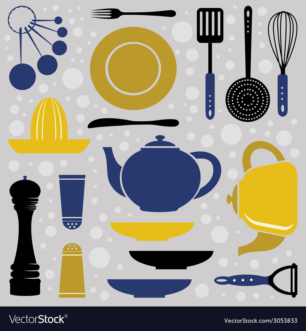 Kitchen collection retro style vector | Price: 1 Credit (USD $1)