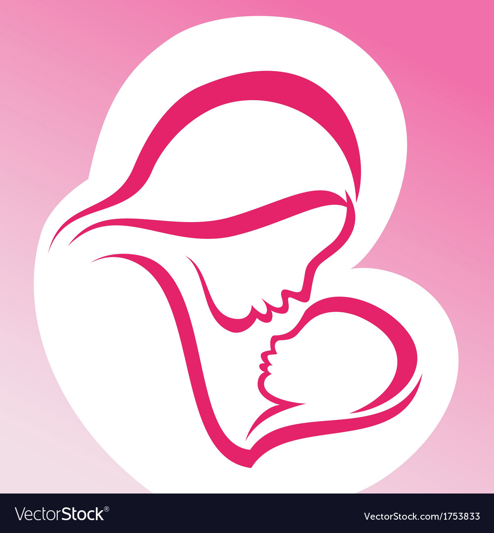 Mother and baby symbol vector | Price: 1 Credit (USD $1)