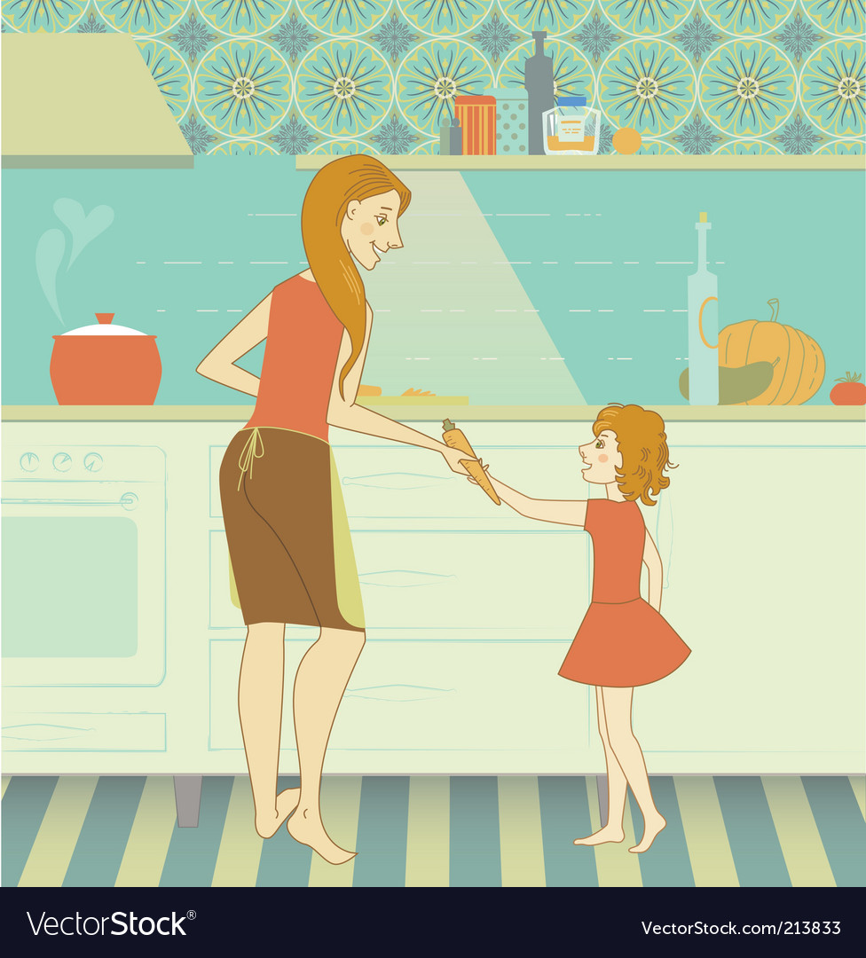 Mother and daughter vector | Price: 5 Credit (USD $5)