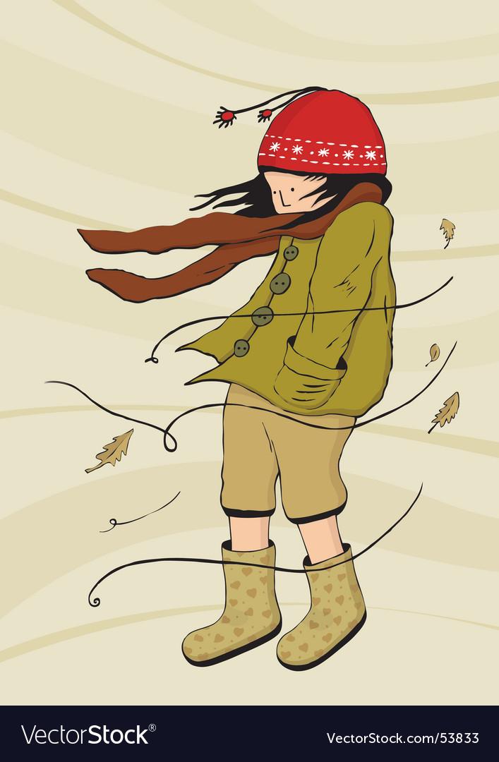 Walking in windy weather vector
