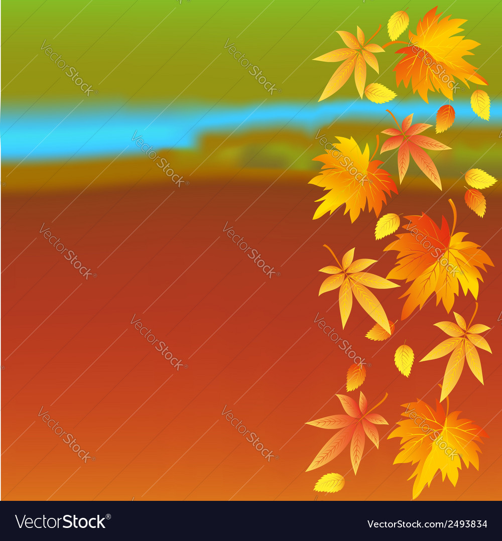 Autumn wallpaper with landscape and leaf fall vector | Price: 1 Credit (USD $1)