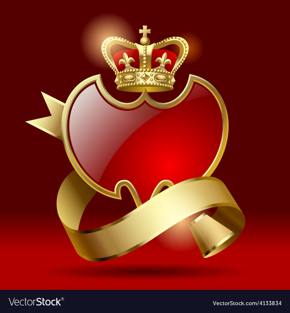 Badge with ribbon and crown vector | Price: 3 Credit (USD $3)