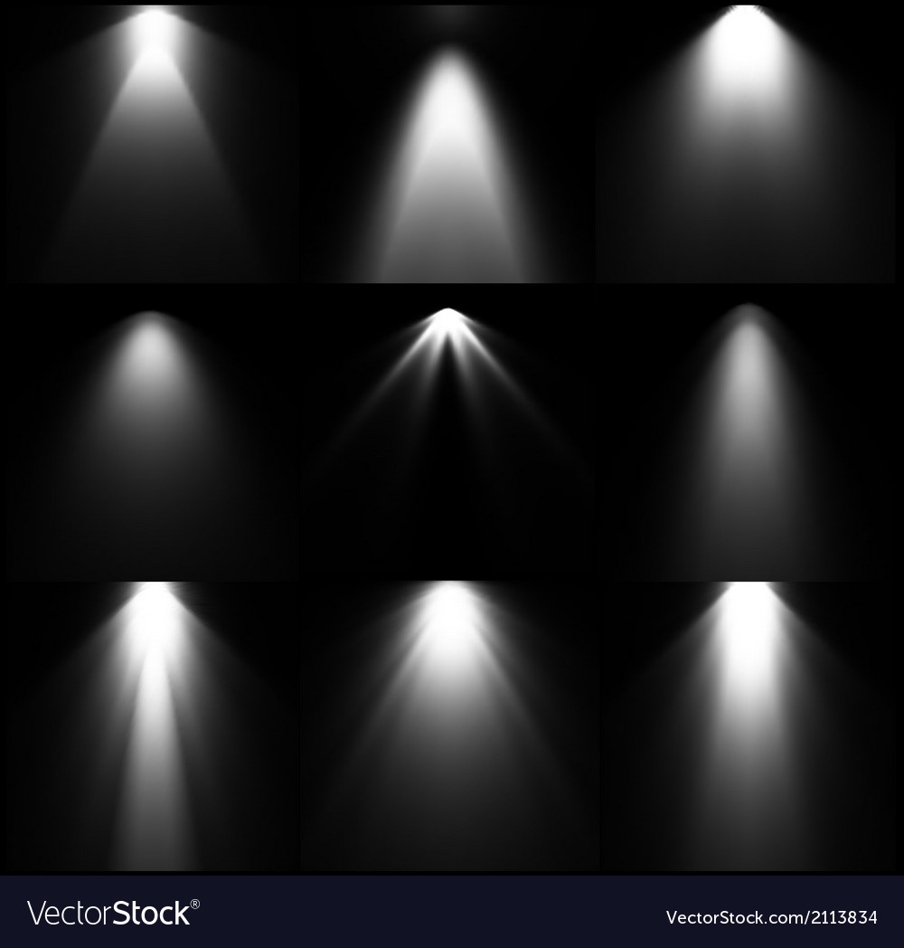 Black and white light sources set vector | Price: 1 Credit (USD $1)