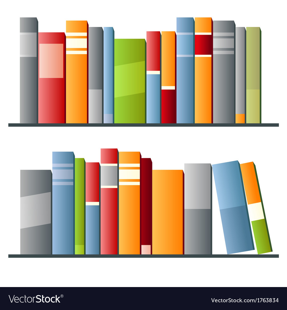Books in a row on white background vector | Price: 1 Credit (USD $1)