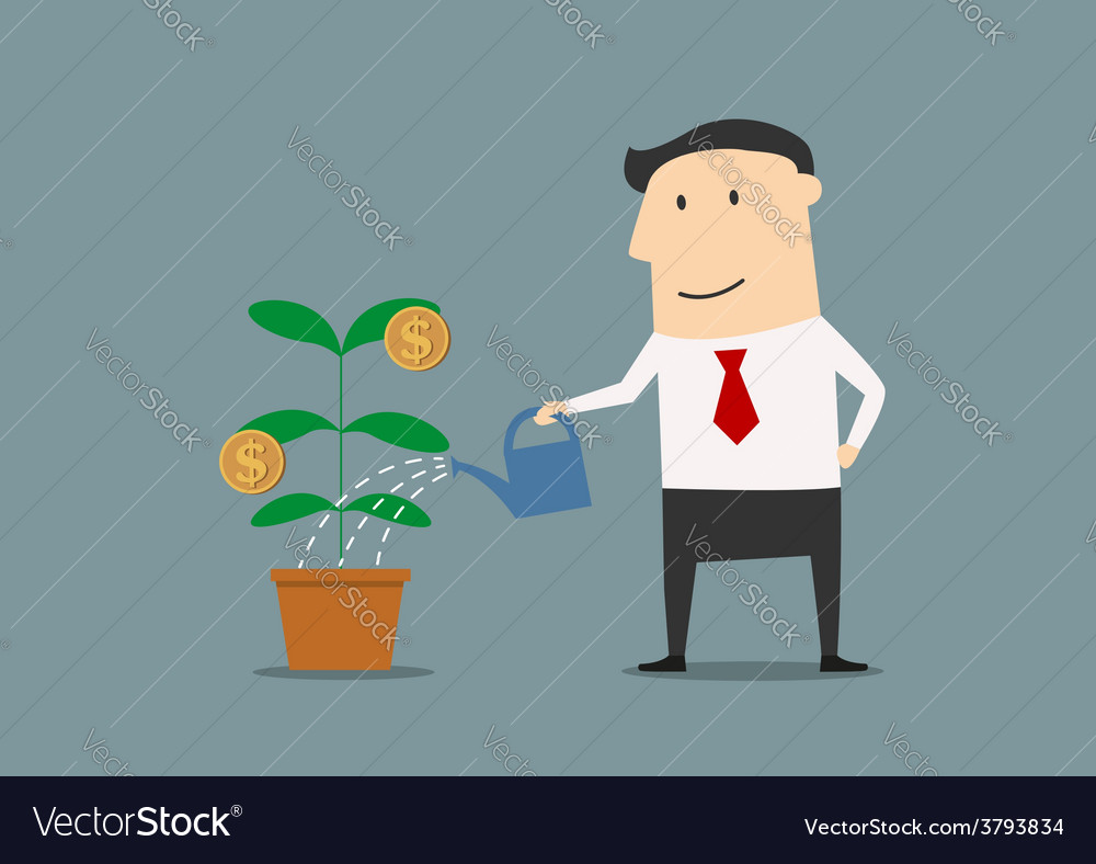 Businessman watering a money plant vector | Price: 1 Credit (USD $1)