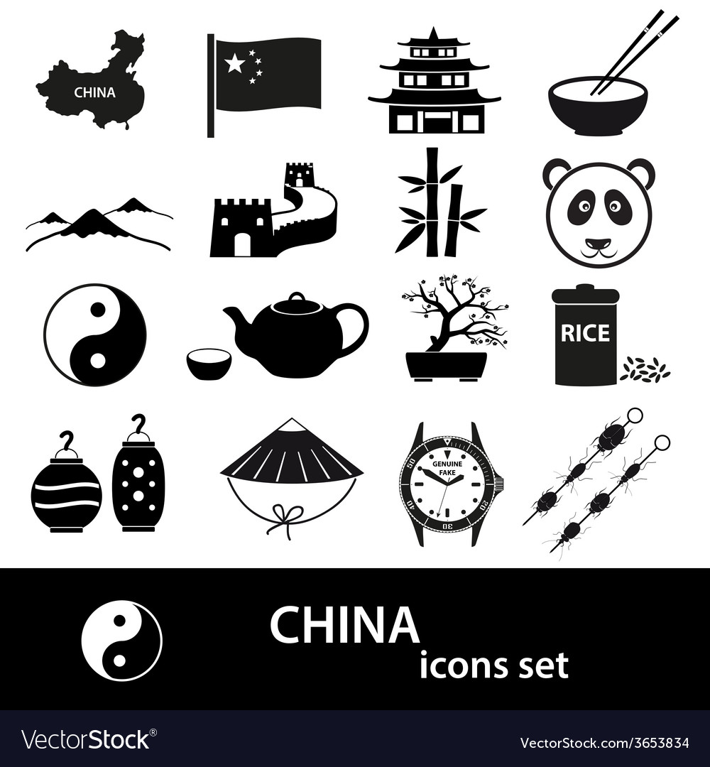 China theme black icons set eps10 vector | Price: 1 Credit (USD $1)